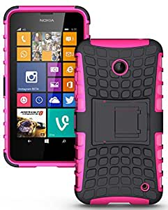 Heartly Flip Kick Stand Spider Hard Dual Armor Hybrid Bumper Back Case Cover For Nokia Lumia 630 635 638 Dual Sim - Cute Pink