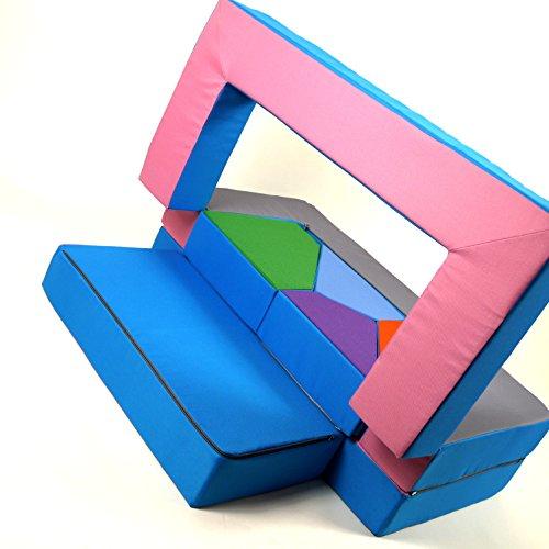 Spielsofa 4in1 Kindersofa Spielmatraze für das Kinderzimmer Spielpolster Softsofa rosa/hellblau Puzzle Kinderzimmersofa Spieltisch Kindermöbel - 4