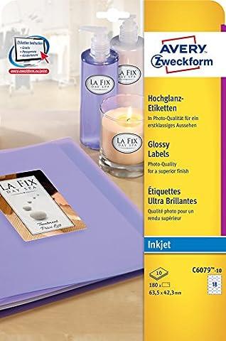 Avery Zweckform C6079-10 Etiquettes glacées Forme ovale, détachable, brillant 63,5 x 42,3 mm 10 feuilles (Import Allemagne)