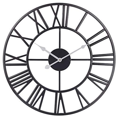 Dekor-Wanduhr, 45CM-europäische Industrie-Vintage-Uhr mit großen römischen Ziffern, Leise Batteriebetriebene Metall-Innenuhr für Haus, Wohnzimmer, Schlafzimmer, Küche und Höhle - Schwarz weiß