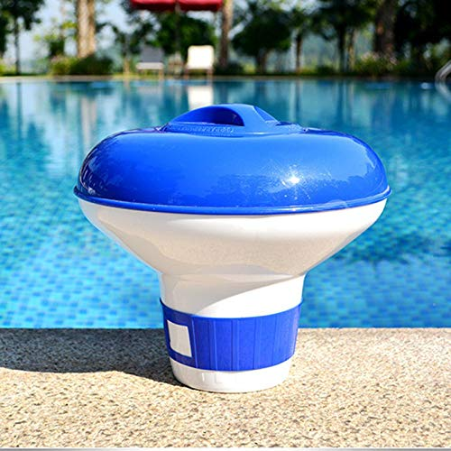 Shoppy Star - Dispensador de Cloro Flotante para Piscina, Color Azul y Blanco