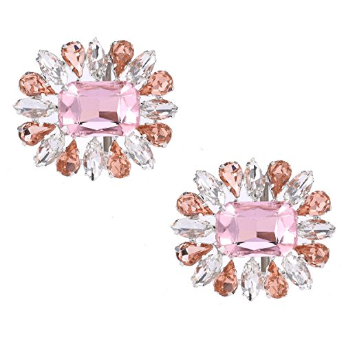 Santa Fe Schuhclip Dekorative Hochzeitsfeier Schuhzubehör Crystal Strass Charm Schuhschnalle Clips (Pink)