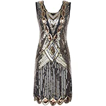 River Island Black And Gold Flapper Dress