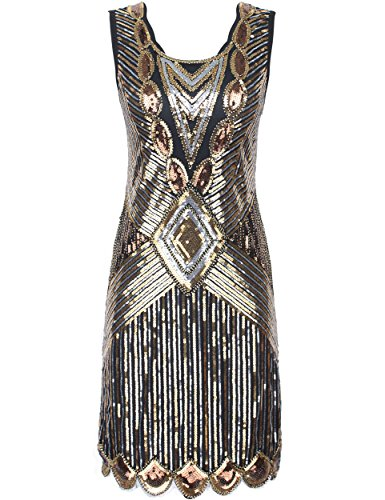 20er Gatsby Sequin Art Deco Scalloped Saum Inspiriert Flapper-Kleid Gold XS (20er Jahre Art Deco)