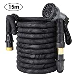 FIXKIT Tuyau d'arrosage Tuyau Flexible Tuyau d'eau Tuyau Extensible à 8 Fonctions Elastique Flexible pour Irrigation et Nettoyage du Jardin Noir (30m/50FT) (15m)