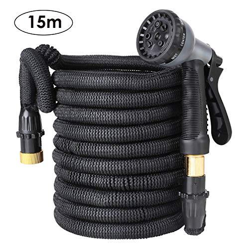 FIXKIT Tuyau d'arrosage Tuyau Flexible Tuyau d'eau Tuyau Extensible à 8 Fonctions Elastique Flexible pour Irrigation et Nettoyage du Jardin Noir 15 m/22m/30m …