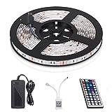 Tira LED de Luz, CompraFun 5M 150leds RGB 5050 Multicolor Leds, Tira LED con Mando a Distancia. [Clase de eficiencia energética A+++]