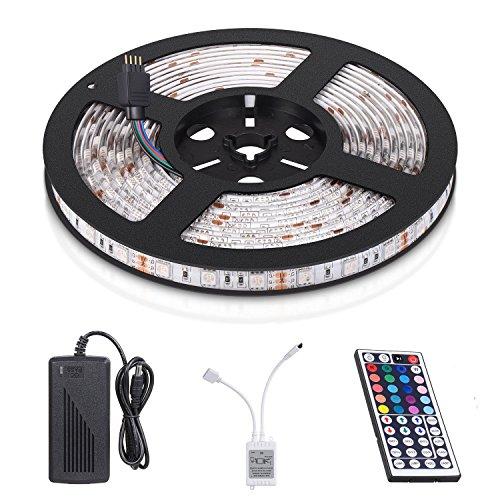 Tira LED de Luz, Rixow 5M 150leds RGB 5050 Multicolor Leds, Tira LED con Mando a Distancia. [Clase de eficiencia energética A+++]