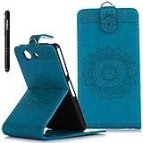 Sony Xperia Z3 Compact Hülle Blau,Slynmax Mandala Flip Schutzhülle für Sony Xperia Z3 Compact Tasche Wallet Leder Klapphülle Brieftasche Lederhülle Handyhülle Ständer Kartenfächer Magnetverschluss