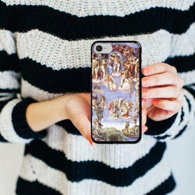 Apple iPhone X Silikon Hülle Case Schutzhülle Michelangelo Buonarroti Das jüngste Gericht Gemälde Hard Case schwarz