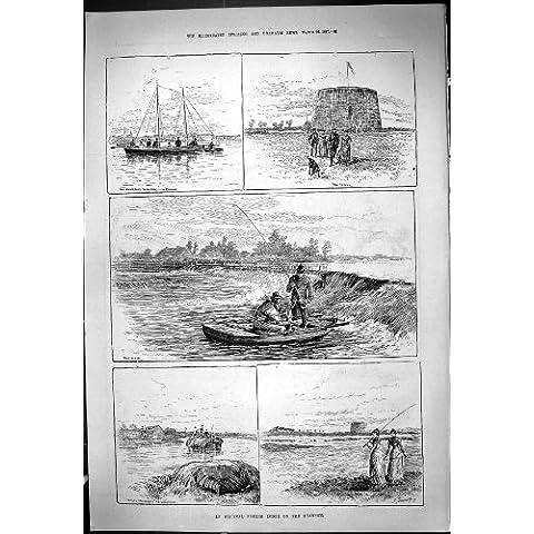 1887 Pescados Antiguos de Athlone del Barco del Vertedero de Shannon Irlanda del Río de la Casa De Campo de la Pesca de la Impresión