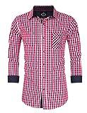 KoJooin Trachten Herren Hemd Trachtenhemd Langarmhemd Freizeithemd Baumwolle - Für Oktoberfest, Business, Freizeit Rote Nähte L-38