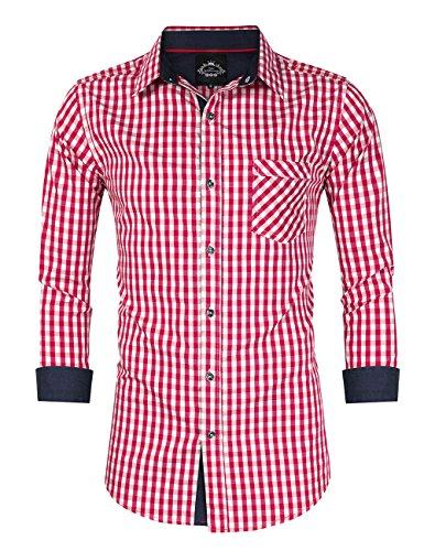 KUULEE Trachtenhemd Herren Kariert Freizeithemd Landhausstil Langarmhemd Slim Fit Hemd Bestickt Baumwolle - für Oktoberfest, Business, Freizeit Rote Nähte XL-40