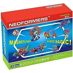 KLEIN Design Hochwertige Magnet Bausteine von Neoformers - 78-Teilig für Kleinkind ab 3 Jahre