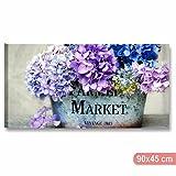 Karo L & C Italien Hortensien vintage 4–Modernes Bild auf Leinwand 90x 45Blumen Shabby Chic Lila Violett Blau Provence Rose drucken Canvas Möbel Schlafzimmer Wohnzimmer Country Home
