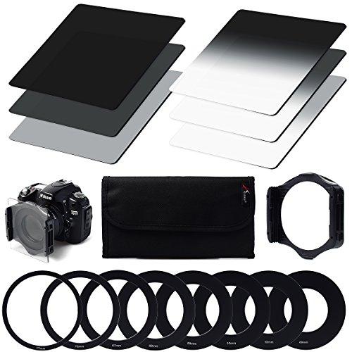 Graufilterset ND2 ND4 ND8 + Verlaufs-Graufilter ND2 G. ND4 G. ND8 + Ringadapter (9 Stück) (49mm, 52mm, 55mm, 58mm, 62mm, 67mm, 72mm, 77mm, 82mm) + Filterhalterung + Filtertasche für Cokin P-Serie für Canon, Nikon, Sony LF6
