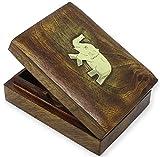 SKAVIJ Naipes Caja de Naipes Hecho a Mano Soporte de Madera para 1 mazo de Cartas de póker o póquer Caso Decorativo Elefante