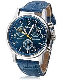 Malloom® lujo moda cocodrilo cuero de imitación hombres hombres analógico Relojes de pulsera azul