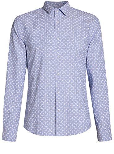 oodji Ultra Herren Hemd Slim Fit mit Druck Blau (7010E)