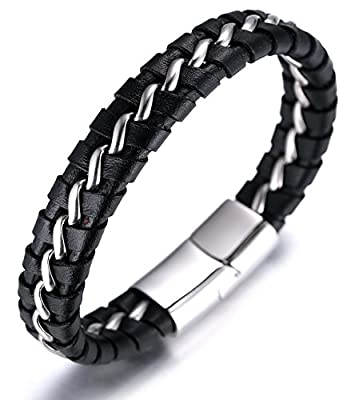 "Halukakah ""SOLO"" Men's Genuine Leather Titanium Bracelet Black & Silver 8.46""(21.5cm) with FREE Giftbox"