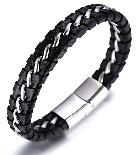 """Halukakah """"SOLO"""" Herren Echt-Leder Titan Armband Schwarz & Silber 8.46""""(21.5cm) Magnetisch Mit Kostenlosem Geschenkbox"""
