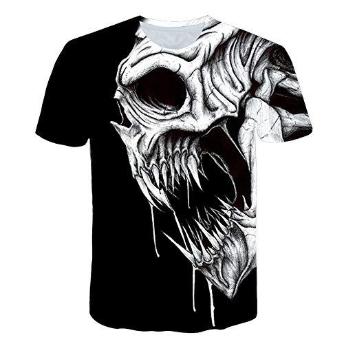 XIAOBAOZITXU T-Shirt Mode Große Größe Männer Und Frauen Unisex-Kostüm Weißer Schädel Schwarz Schmal Geschnitten Cooles Lustiges Sommersport-T-Shirt L