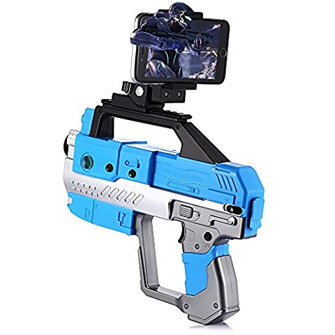 GBlife AR Analogique Pistolet Réel Jouet avec Gun Réalité Jeux Mobiles Jouet de Tir Tank Avion Combat Réel avec Smartphone Bluetooth Jeux pour Smartphone Android IOS Iphone (Bleu)