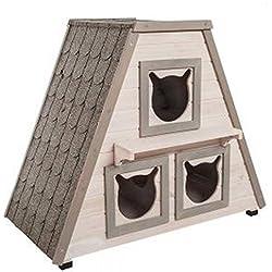 Casa para gatos de madera. Para exteriores. 3 áreas separadas para dormir. Impermeable. Para usar en casa o en el jardín