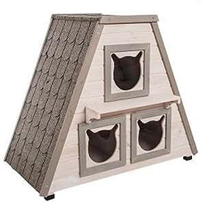 madeira katzenhaus katzenh tte f r den au enbereich geeignet aus holz mit 3 separaten. Black Bedroom Furniture Sets. Home Design Ideas