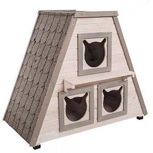 Madera perfecta exterior Cat House W/3Separado Dormir