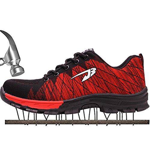SUADEEX Damen Herren Sicherheitsschuhe Sportlich Trekking Wanderhalbschuhe Stahlkappe Arbeitsschuhe Hiking Schuhe Traillaufschuhe, 05-rot, 36 EU