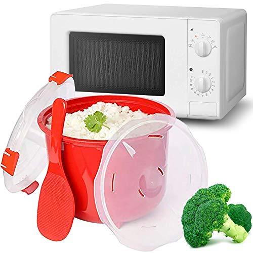 MovilCom® Dampfgarer für Reis | Mikrowellentopf | Dampfgarer Schnellgarer 2,6l Huhn Reis Cous Cous, Quinoa | Rot