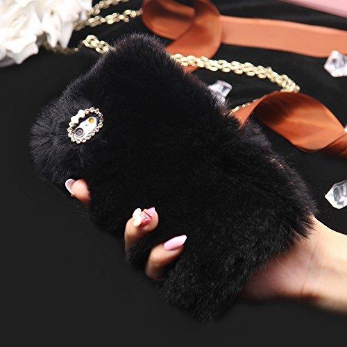 Excelsior Soft Warm Fur Back Case Cover Case for Apple iPhone 7 Plus   Black
