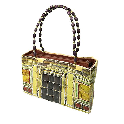 Damen Schultertasche aus Bambus - Etnische Handtasche für Frauen - 28x15x8 cm - Handgefertigt - Reißverschluss (Gelbe Griffe mit kleinen Perlen) (Bambus-griff-handtasche)
