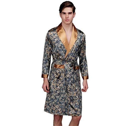 HAIYUANNAN Logeliy Herren Seide Pyjama Langärmelige Größe Nachthemd männlich Nachtwäsche Roben Freizeitkleidung Sommer- Bademantel, L