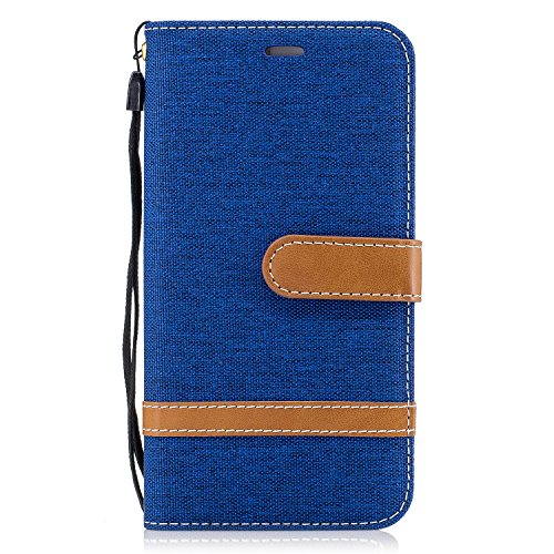 ISAKEN Huawei P8 Lite 2017 Hülle, Canvas PU Leder Flip Cover Brieftasche Ledertasche Handyhülle Tasche Case Schutzhülle Hülle mit Handschlaufe Strap für Huawei P8 Lite 2017 5.2 Zoll - Leinen Blau
