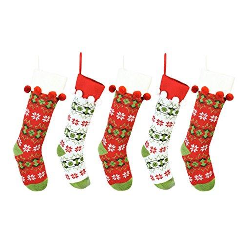 Dibor Weihnachtsstrumpf-Socken mit Bommel, gestrickt, weihnachtlicher Stil, zum Aufhängen, 5 Stück