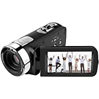 "Digital Camera Camcorders,Prous Night Vision Camcorder CR15 3"" HD Video Camera 16X Digital Zoom Recorder With Remote Control Rechargeable Batteries Support 270° Rotation SD Card Camera Tripod"