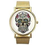 SODIAL(R) Cranio punk donna stampato orologio da polso in lega d'oro