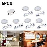 6pcs Interior LED techo Spot luces con adaptador de divisor para DC 12V RV campista caravana barco cocina sala de estar(Blanco cálido)