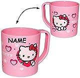 Unbekannt Trinkbecher / Henkeltasse -  Katze - Hello Kitty  - incl. Name - aus Kunststoff Plastik - Tasse - Kindertasse / Kinderbecher - für Baby - Trinklerntasse / T..