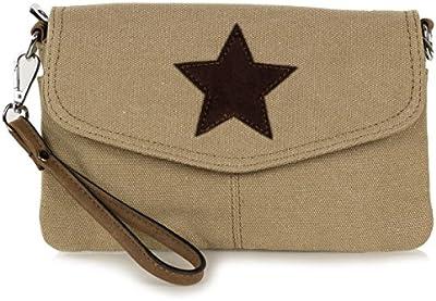 Pequeñas mujeres del bolso de embrague hecha de lona con la estrella de gamuza (22 x 14 x 2 cm)