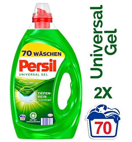 Persil Universal Gel, Flüssigwaschmittel mit Tiefenrein-Technologie, 2er Pack (2 x 70 Waschladungen) - Frische Wäsche Waschmittel