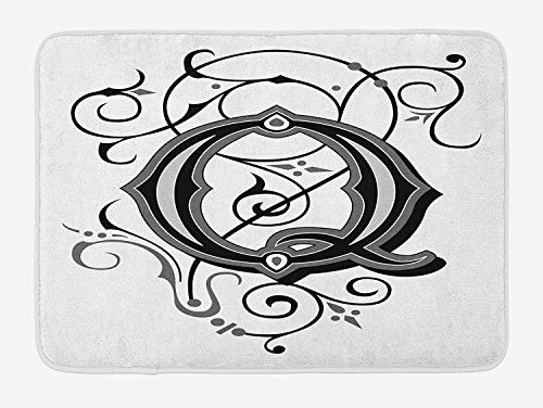 ARTOPB Letter Q Bath Mat, Flowers Flourishing Gothic Q Words Writing Artistic Style Aged Typography, Plush Bathroom Decor Mat with Non Slip Backing, 23.6 W X 15.7 W Inches, Black Grey White