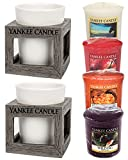 Yankee Candle Rustic Modern Wood Effect TWO PACK Plastic Votive Surrounds & Ceramic Holders Plus FOUR SAMPLERS Small 7.5cm Contemporary Decorative Candle Containers Indoor/Outdoor Grey/White