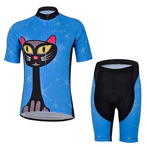 Free Fisher Damen Radtrikot-Set ( Fahrradtrikot Kurzarm+ Radhose ohne Träger), Blaue Katze, Gr. 2X