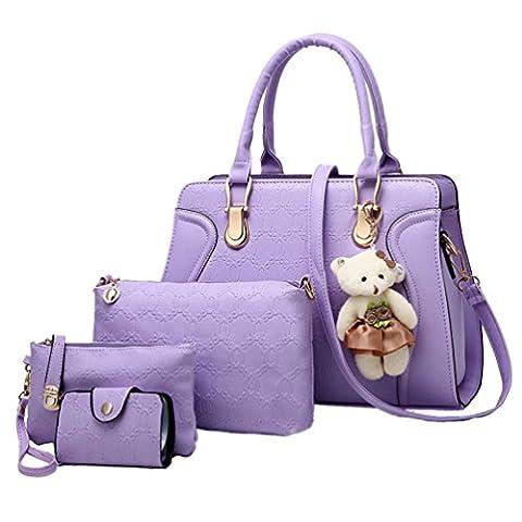 Sentao PU Leather Handbag Tote Shoulder Bag Purse Card Holder 5pcs Set for Women