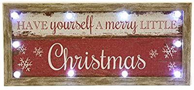 Have Yourself A Merry Little Christmas Light Up Led Wooden Wall Sign Decoration - low-cost UK light shop.