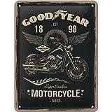 Nostalgic-Art Goodyear Motorfiets - cadeau-idee voor auto- en motorfans, retro metalen bord, vintage decoratie, 15 x 20 cm