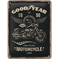 Nostalgic-Art 26224Goodyear de Motorcycle | Retro Cartel de chapa | Vintage de cartel, decoración de pared, metal, 15x 20cm, multicolor, 15x 20x 0.2cm